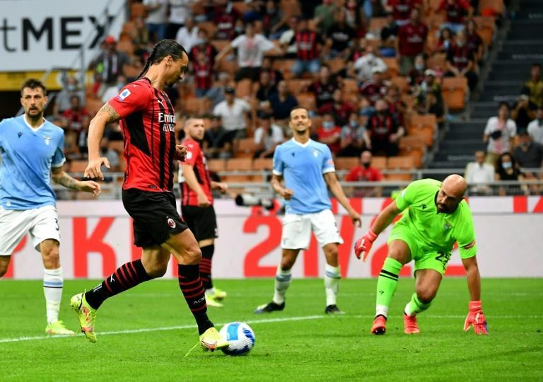 Zlatan Ibrahimovic scored his first goal of the season in his first AC Milan match since May (AFP/Isabella BONOTTO)