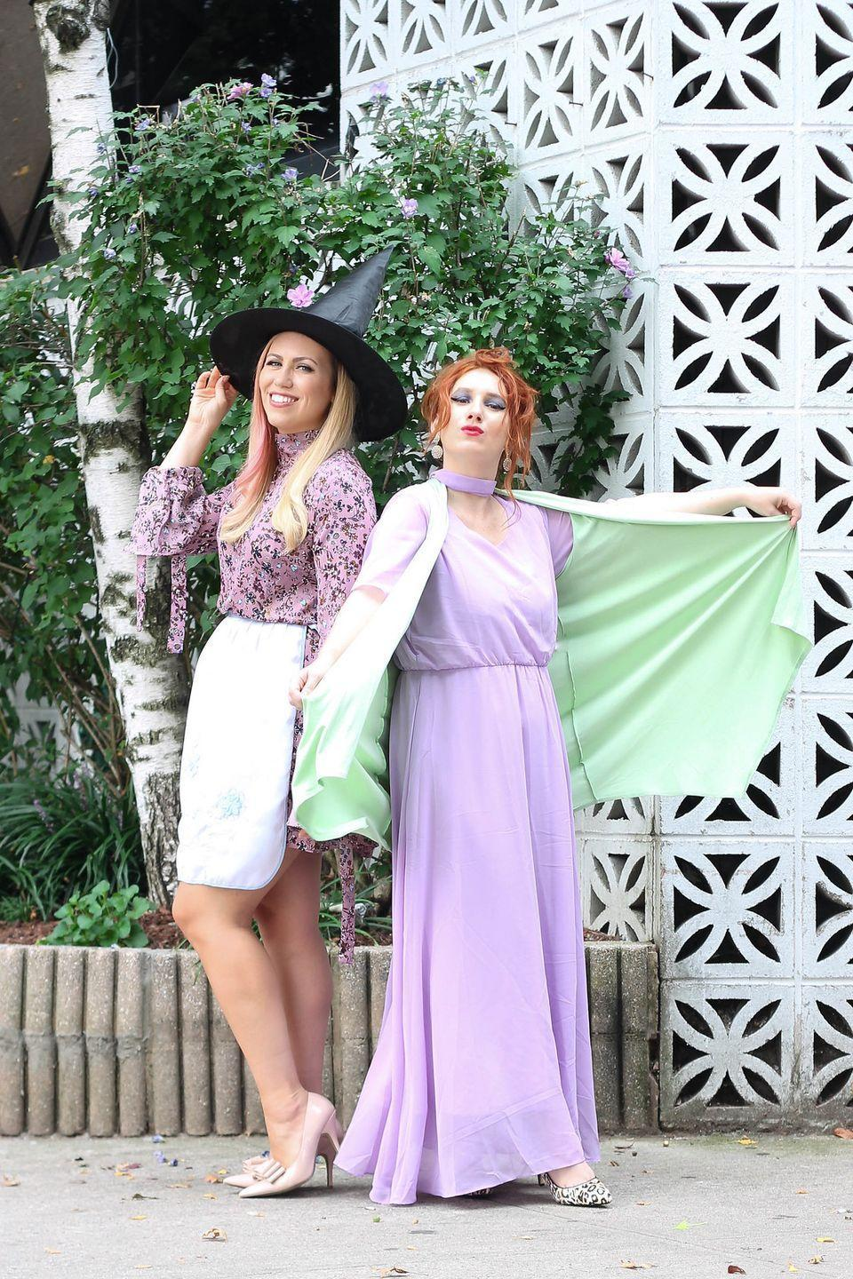 """<p>Admit it: You've always wanted to be able to wiggle your nose and do magic! Now you can when you and your pal come as Samantha Stevens and her always-popping-in mom, Endora. </p><p><strong>Get the tutorial at <a href=""""http://livingaftermidnite.com/2017/10/best-friend-halloween-costumes.html"""" rel=""""nofollow noopener"""" target=""""_blank"""" data-ylk=""""slk:Living after Midnite"""" class=""""link rapid-noclick-resp"""">Living after Midnite</a>. </strong></p><p><a class=""""link rapid-noclick-resp"""" href=""""https://www.amazon.com/KOH-Cocktail-Slimming-Sundress-Dresses/dp/B07Z7T8Z1Q/ref=cs_sr_dp_5?dchild=1&keywords=purple%2Bshort%2Bsleeved%2Bchiffon%2Bmaxi%2Bdress&qid=1591988969&sr=8-1&th=1&tag=syn-yahoo-20&ascsubtag=%5Bartid%7C10050.g.21349110%5Bsrc%7Cyahoo-us"""" rel=""""nofollow noopener"""" target=""""_blank"""" data-ylk=""""slk:SHOP PASTEL MAXI DRESSES"""">SHOP PASTEL MAXI DRESSES</a></p>"""