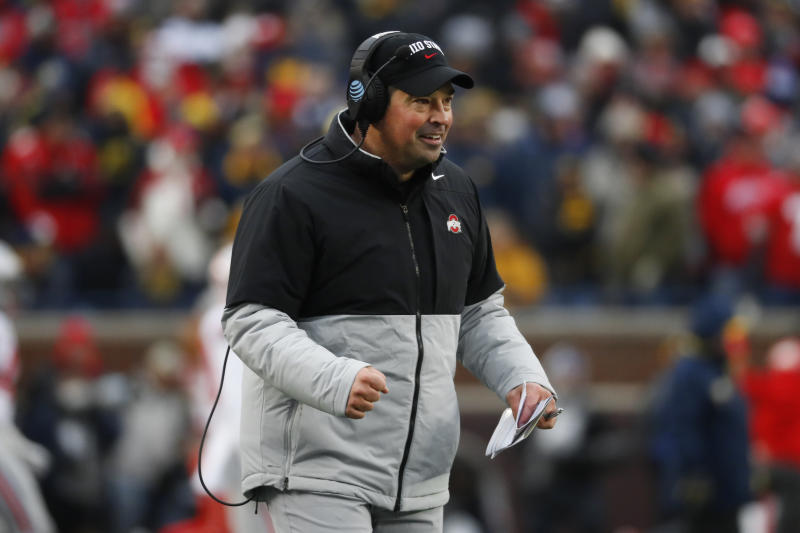 Ohio State head coach Ryan Day reacts after a touchdown in the second half of an NCAA college football game against Michigan in Ann Arbor, Mich., Saturday, Nov. 30, 2019. (AP Photo/Paul Sancya)