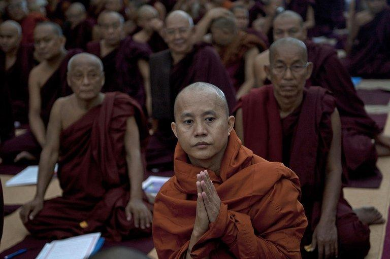 Wirathu (C), Buddhist monk from Mandalay, pictured at a monastery near Yangon, on June 13, 2013