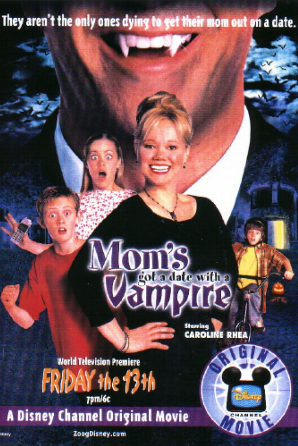 """<p>Adam and Chelsea (<strong>Matthew O'Leary </strong>and<strong> Laura Vandervoort</strong>) have major plans for the night, but their mom (<strong>Caroline Rhea</strong>) grounded them. To distract her so they can sneak out for the evening, they set her up on a date. But when Taylor (<strong>Myles Jeffrey</strong>) realizes that the man is a vampire, they have to fight to save their mom's life. </p><p><a class=""""link rapid-noclick-resp"""" href=""""https://go.redirectingat.com?id=74968X1596630&url=https%3A%2F%2Fwww.disneyplus.com%2Fmovies%2Fmoms-got-a-date-with-a-vampire%2FE1GCgPSh5Rfu&sref=https%3A%2F%2Fwww.goodhousekeeping.com%2Flife%2Fentertainment%2Fg33651563%2Fdisney-halloween-movies%2F"""" rel=""""nofollow noopener"""" target=""""_blank"""" data-ylk=""""slk:WATCH NOW"""">WATCH NOW</a></p>"""