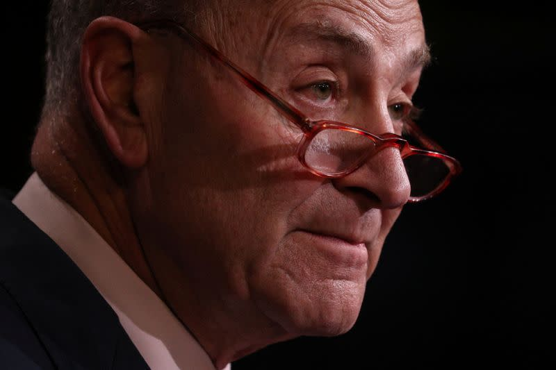 FILE PHOTO:  Senate Minority Leader Schumer (D-NY) holds a press conference on Capitol Hill in Washington