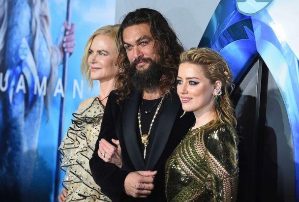 PHOTO: Nicole Kidman, Jason Momoa and Amber Heard arrive at the premiere of 'Aquaman' at TCL Chinese Theatre on Dec. 12, 2018, in Los Angeles. (Jordan Strauss/Invision/AP)
