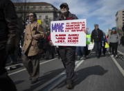 <p>Students and activists display posters and chant slogans during the March for Our Lives rally against gun violence in Washington, D.C. (Photo: Andrew Caballero-Reynolds/AFP/Getty Images) </p>