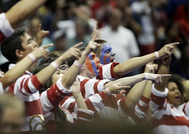 Arizona fans cheer during the second half in a regional final NCAA college basketball tournament game against Wisconsin, Saturday, March 29, 2014, in Anaheim, Calif. (AP Photo/Jae C. Hong)