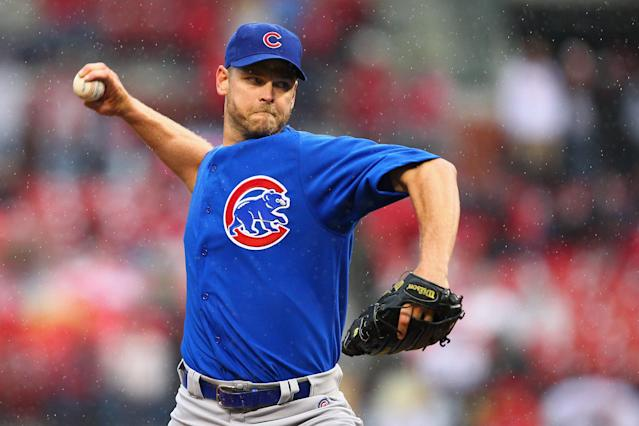 ST. LOUIS, MO - APRIL 13: Reliever Kerry Wood #34 of the Chicago Cubs pitches against the St. Louis Cardinals during the home-opening game at Busch Stadium on April 13, 2012 in St. Louis, Missouri. The Cubs beat the Cardinals 9-5. (Photo by Dilip Vishwanat/Getty Images)