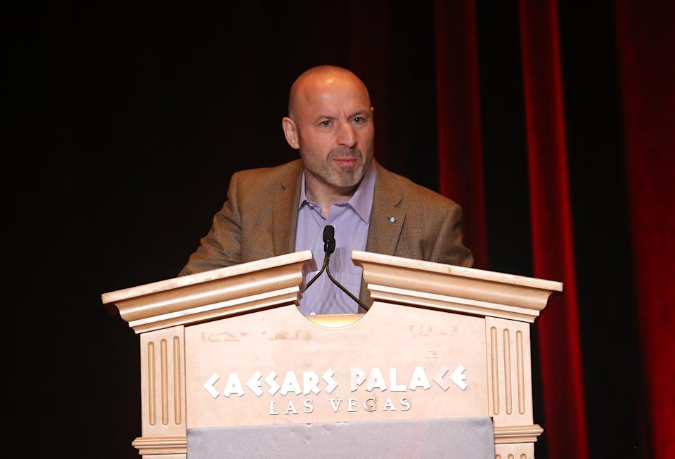 LAS VEGAS, NV - APRIL 20:  Chief Executive, The Cinema Exhibitors' Association Limited Phil Clapp speaks at a keynote address during the International Day Breakfast at CinemaCon at Caesars Palace on April 20, 2015 in Las Vegas, Nevada.  (Photo by Gabe Ginsberg/WireImage)