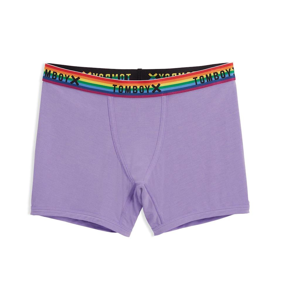 """<h2>TomboyX</h2><br>""""We asked ourselves, 'How hard can it be to make good underwear?' And by that, we meant underwear that fit regular bodies and fit how we saw ourselves. And underwear that any body could feel comfortable in, regardless of where they fell on the size or gender spectrum."""" <em>–</em> <em><a href=""""https://tomboyx.com"""" rel=""""nofollow noopener"""" target=""""_blank"""" data-ylk=""""slk:TomboyX Website"""" class=""""link rapid-noclick-resp"""">TomboyX Website</a></em><br><br>TomboyX is famous for its gender-neutral underwear — as well as for women who want to wear boxers/briefs. From <a href=""""https://tomboyx.com/collections/first-line-1"""" rel=""""nofollow noopener"""" target=""""_blank"""" data-ylk=""""slk:period underwear"""" class=""""link rapid-noclick-resp"""">period underwear</a> to <a href=""""https://tomboyx.com/collections/gender-euphoria/products/compression-thyme"""" rel=""""nofollow noopener"""" target=""""_blank"""" data-ylk=""""slk:compression tops"""" class=""""link rapid-noclick-resp"""">compression tops</a>, it's the go-to brand for our favorite non-feminine pieces. <br><br><strong>Shop <em><a href=""""https://tomboyx.com"""" rel=""""nofollow noopener"""" target=""""_blank"""" data-ylk=""""slk:TomboyX"""" class=""""link rapid-noclick-resp"""">TomboyX</a></em></strong><br><br><strong>TomboyX</strong> 4.5"""" Trunks - TENCEL™ Modal Orchid Rainbow, $, available at <a href=""""https://go.skimresources.com/?id=30283X879131&url=https%3A%2F%2Ftomboyx.com%2Fcollections%2Funderwear%2Fproducts%2F4trunks-orchid"""" rel=""""nofollow noopener"""" target=""""_blank"""" data-ylk=""""slk:TomboyX"""" class=""""link rapid-noclick-resp"""">TomboyX</a>"""