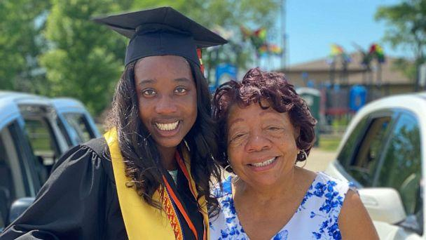 PHOTO: Nina Mitchell, 17, valedictorian of DeKalb High School in DeKalb, Illinois, stands with her grandmother, Pearlene Carter, 75, was also a valedictorian representing Walker High School's class of 1959 in Coldwater, Mississippi. (Darren Mitchell)