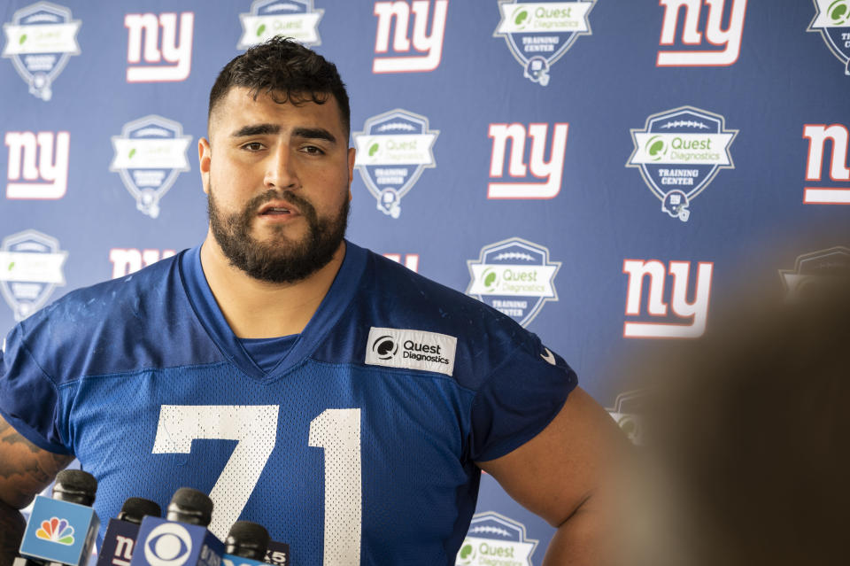 New York Giants offensive guard Will Hernandez speaks to the media at NFL football training camp, Wednesday, July 28, 2021, in East Rutherford, N.J. (AP Photo/Corey Sipkin)
