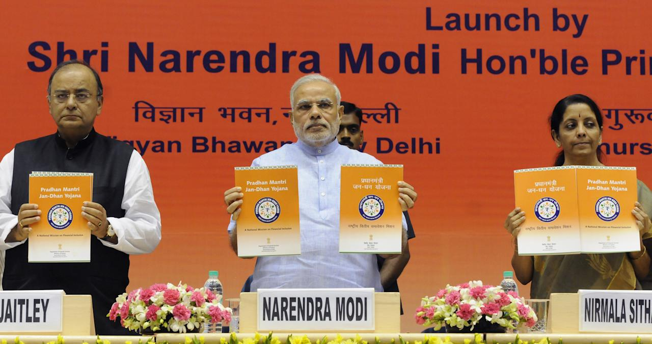 <strong>Launched on 28 August 2014</strong>, the Pradhan Mantri Jan Dhan Yojana (PMJDY), is financial inclusion program of the government applicable to those aged between 10 and 65. It aims to expand and make affordable access to financial services such as bank accounts, remittances, credit, insurance and pensions. Run by the Department of Financial Services, Ministry of Finance, under this scheme 15 million bank accounts were opened on the inauguration day itself. By June 27, 2018, over 318 million bank accounts were opened and over ₹792 billion (US$12 billion) were deposited under the scheme.