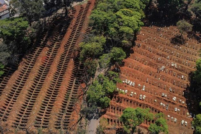 An aerial view of the Vila Formosa Cemetery on the outskirts of Sao Paulo. Brazil has passed the bleak marker of 150,000 deaths from Covid-19, the health ministry said