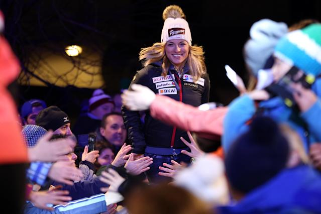 <p>Lara Gut of Switzerland A general view during the Audi FIS Alpine Ski World Cup Women's Super G on January 21, 2018 in Cortina d'Ampezzo, Italy. (Photo by Christophe Pallot/Agence Zoom/Getty Images) </p>
