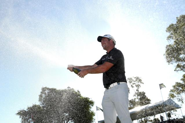 """<div class=""""caption""""> Ryan Fox sprays champagne on the sixth green after winning the title at the ISPS Handa World Super 6 Perth. </div> <cite class=""""credit"""">Paul Kane/Getty Images</cite>"""