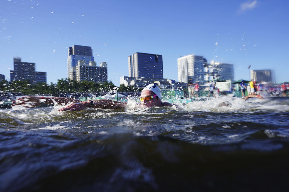 David Aubry, of France, competes during the men's marathon swimming event at the 2020 Summer Olympics, Thursday, Aug. 5, 2021, in Tokyo. (AP Photo/David Goldman)