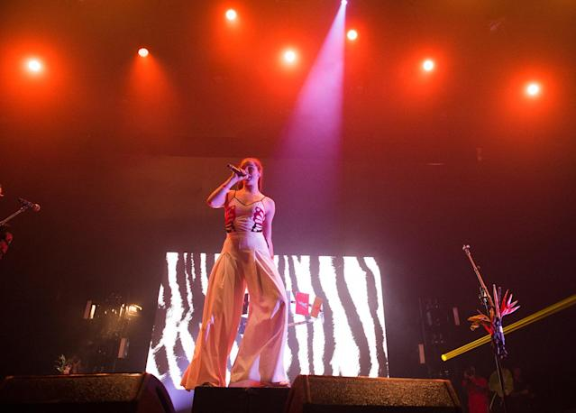 <p>Sophie Hawley-Weld of Sofi Tukker performs at the 2017 Panorama Music Festival at Randall's Island on July 29, 2017 in New York City. (Photo by Noam Galai/WireImage) </p>