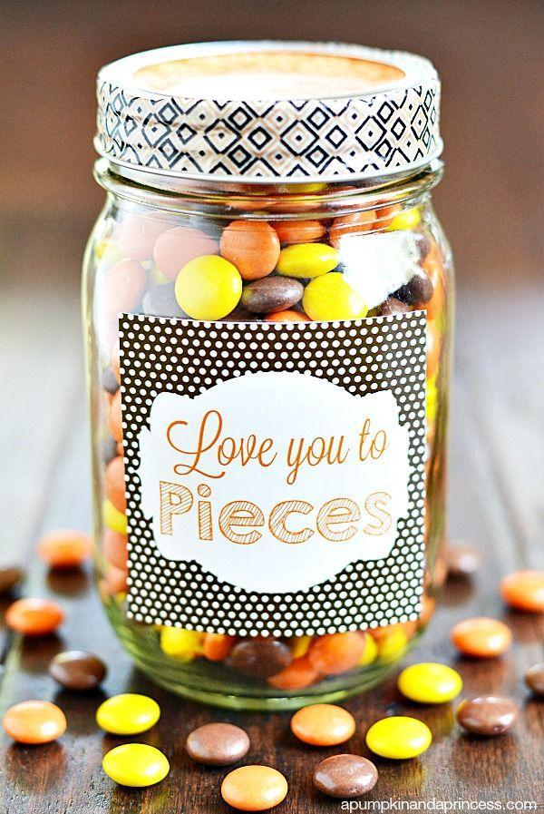 """<p>He'll love this Reese's filled mason jar to pieces!<br></p><p><strong>Get the tutorial at <a href=""""https://apumpkinandaprincess.com/love-you-to-pieces-printable-gift-tag/"""" rel=""""nofollow noopener"""" target=""""_blank"""" data-ylk=""""slk:A Pumpkin and a Princess"""" class=""""link rapid-noclick-resp"""">A Pumpkin and a Princess</a>. </strong></p>"""
