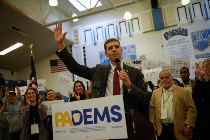 Conor Lamb reacts to winning the Democratic nomination for the 18th Districtseat inside Washington High School gymnasium, where the nomination convention was being held in Washington, Pennsylvania, on Nov. 19.