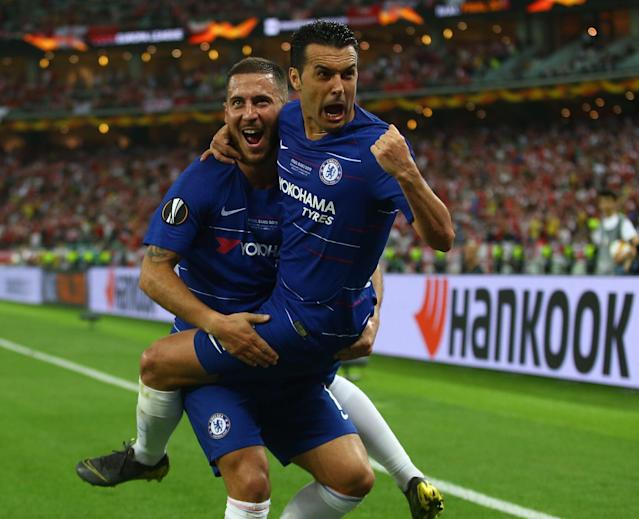 Pedro celebrates his goal with Hazard (Photo by Resul Rehimov/Anadolu Agency/Getty Images)