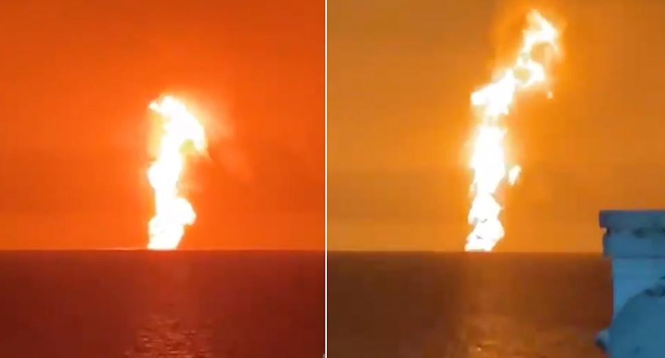 Flames on the ocean.