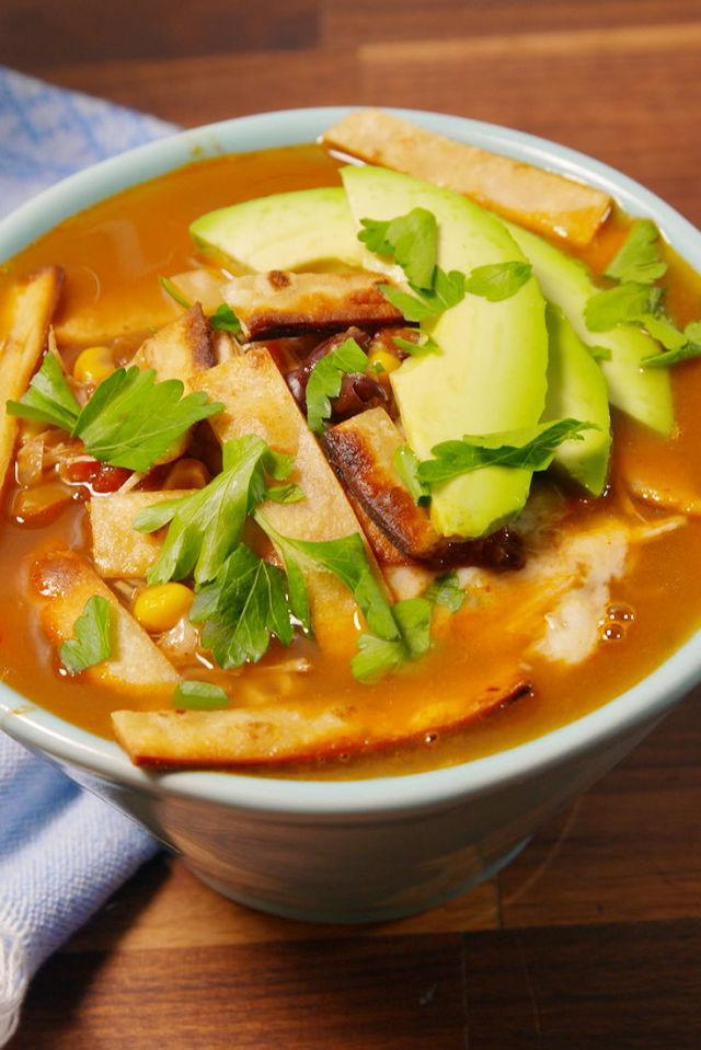 "<p>This chicken soup is the easiest way to warm up.</p><p>Get the recipe from <a rel=""nofollow"" href=""http://www.delish.com/cooking/recipe-ideas/recipes/a51825/best-slow-cooker-chicken-tortilla-soup-recipe/"">Delish</a>.</p>"