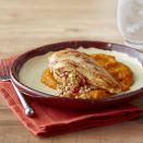 """<p>This elegant dish is a real crowd pleaser. <a href=""""http://www.eatingwell.com/recipe/264634/farro-stuffed-chicken-with-sweet-and-spicy-squash/"""" rel=""""nofollow noopener"""" target=""""_blank"""" data-ylk=""""slk:View recipe"""" class=""""link rapid-noclick-resp""""> View recipe </a></p>"""