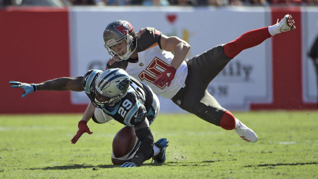 <p>Carolina Panthers strong safety Mike Adams (29) intercepts a pass intended for Tampa Bay Buccaneers wide receiver Adam Humphries (10) during the second half of an NFL football game Sunday, Oct. 29, 2017, in Tampa, Fla. (AP Photo/Phelan Ebenhack) </p>