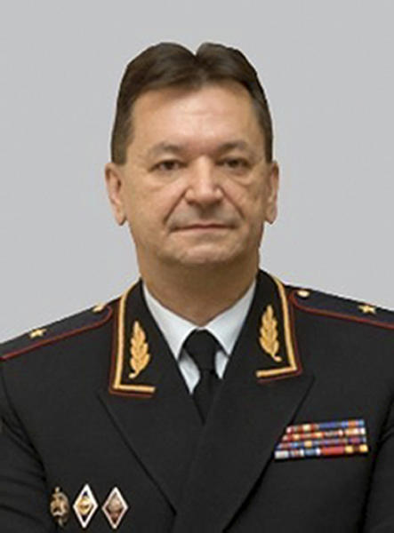 "This undated official photo taken from the Russian Interior Ministry web site shows Alexander Prokopchuk, Russian Interior Ministry general who's currently an Interpol vice president. Kremlin foes including financier Bill Browder, Mikhail Khodorkovsky and Alexei Navalny have warned that naming a top Russian police official to the job would undermine Interpol. Russian Interior Ministry spokesman Irina Volk on Tuesday, Nov. 20, 2018 lashed out at critics, accusing them of running a ""campaign to discredit"" the Russian candidate Alexander Prokopchuk. (Russian Interior Ministry via AP)"