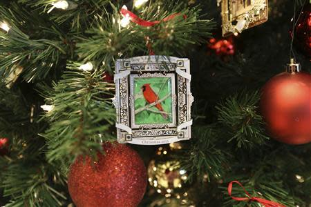 The 2013 Bush Center Ornament with art by President Bush is pictured in this undated handout photo