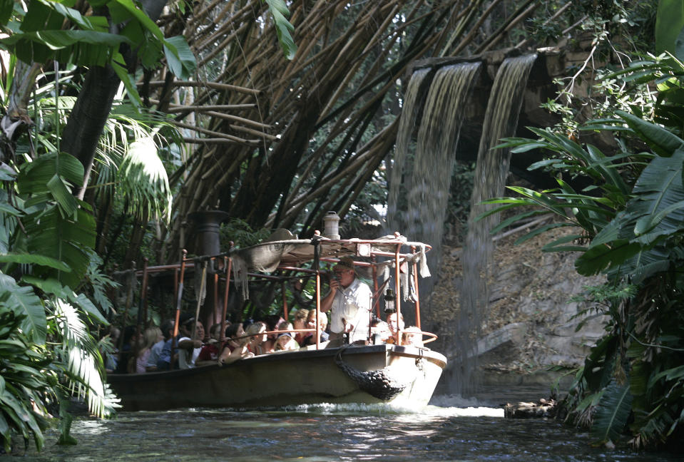 (088636.ME.Disney.DOK)––The guns are back on the Jungle Cruise. And the famous teacups are spinning again. In what seems to be a role–reversing position on political correctness, park officials say they are returning the magic to Disneyland, which next year celebrates its 50th birthday. No word yet whether the wenches in Pirates of the Caribbean will be back.  (Photo by Don Kelsen/Los Angeles Times via Getty Images)