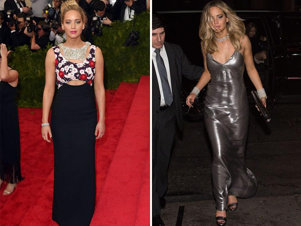 Jennifer Lawrence at the Met Gala and an after-party.