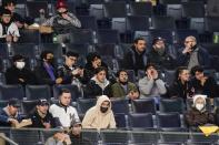 Fans watch during the fourth inning of a baseball game between the New York Yankees and the Tampa Bay Rays on Friday, April 16, 2021, in New York. (AP Photo/Frank Franklin II)