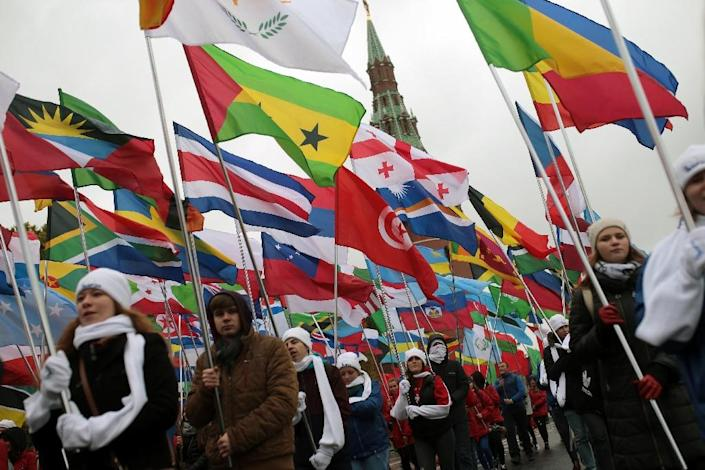 Flags of the world on display at the opening parade in Moscow. AFP PHOTO/TASS/ WORLD FESTIVAL OF YOUTH AND STUDENTs (AFP Photo/-)