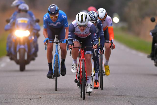 SAINTESMARIESDELAMER FRANCE FEBRUARY 13 Charlie Quarterman of The United Kingdom and Team Trek Segafredo during the 5th Tour de La Provence 2020 Stage 1 a 1495km stage from Chteaurenard to SaintesMariesDeLaMer TDLP letourdelaprovence TDLP2020 on February 13 2020 in SaintesMariesDeLaMer France Photo by Luc ClaessenGetty Images