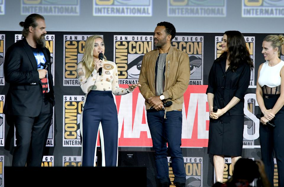 SAN DIEGO, CALIFORNIA - JULY 20: (L-R) David Harbour, Florence Pugh, O. T. Fagbenle, Rachel Weisz and Scarlett Johansson speak at the Marvel Studios Panel during 2019 Comic-Con International at San Diego Convention Center on July 20, 2019 in San Diego, California. (Photo by Kevin Winter/Getty Images)