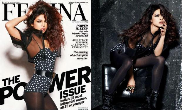 <p>Priyanka tuned cover girl for Femina's September 2013 edition. The issue focused on the 35 most influential women in India under the age of 35 and PeeCee topped the list. Like always, on the cover the actress looked smoking hot, as she posed in a sheer black polka dotted swimsuit. The bold black belt in the middle, the messy hairdo and the smoky eyes floored us!</p>