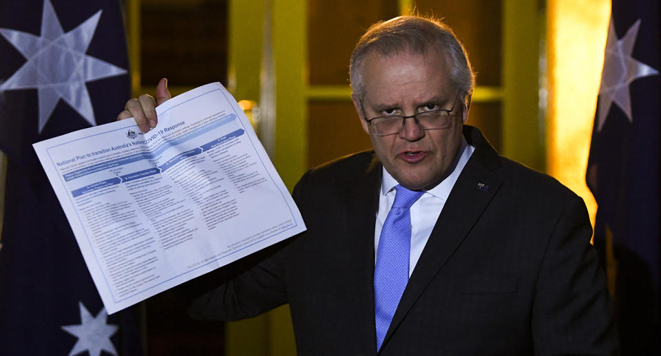 Australian Prime Minister Scott Morrison speaks to the media during a press conference following a national cabinet meeting, at the Lodge in Canberra, Friday, July 30, 2021
