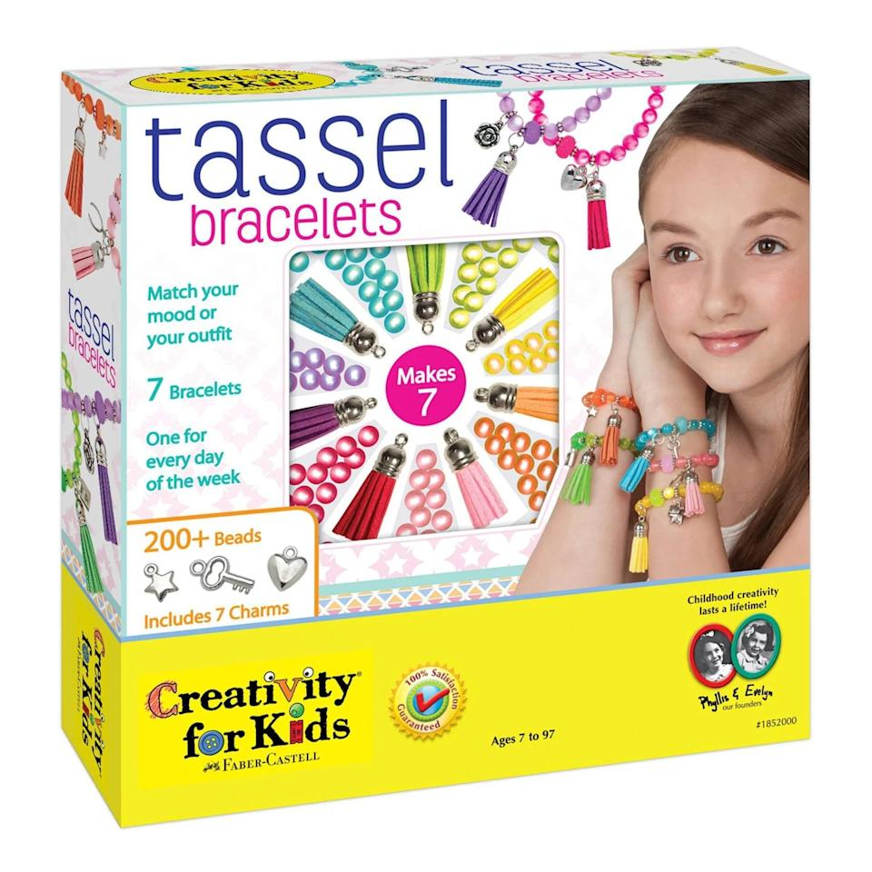 <p>Your kids can create fun bracelets with this <span>Creativity For Kids Tassel Bracelets Activity Kit</span> ($20).</p>