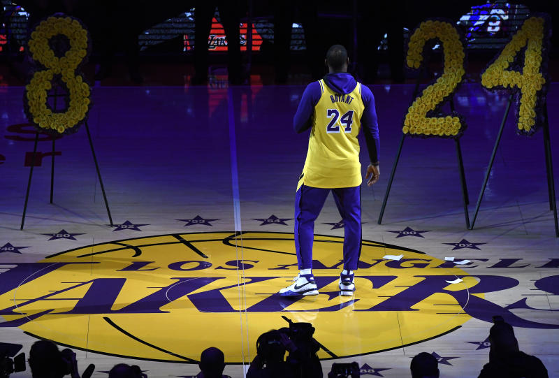 LOS ANGELES, CALIFORNIA - JANUARY 31: LeBron James #23 of the Los Angeles Lakers speaks during the Los Angeles Lakers pregame ceremony to honor Kobe Bryant before the game against the Portland Trail Blazers at Staples Center on January 31, 2020 in Los Angeles, California. (Photo by Kevork Djansezian/Getty Images)