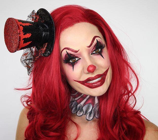 """<p>While this clown makeup is perfectly good on its own (hi, glitter brows!), <strong>it's made complete by the ruffle clown collar. </strong>As long as you have the makeup (for this you need <a href=""""https://www.amazon.com/Ben-Nye-Color-available-Professional/dp/B01979P658/?tag=syn-yahoo-20&ascsubtag=%5Bartid%7C10049.g.33247158%5Bsrc%7Cyahoo-us"""" rel=""""nofollow noopener"""" target=""""_blank"""" data-ylk=""""slk:red, white, and black costume makeup"""" class=""""link rapid-noclick-resp"""">red, white, and black costume makeup</a>) and the time, you can create a costume without having to buy one. </p><p><a href=""""https://www.instagram.com/p/BL4CVgmBhgl/?utm_source=ig_embed&utm_campaign=loading"""" rel=""""nofollow noopener"""" target=""""_blank"""" data-ylk=""""slk:See the original post on Instagram"""" class=""""link rapid-noclick-resp"""">See the original post on Instagram</a></p>"""