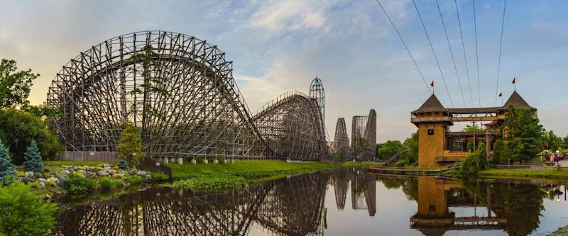 The beautiful Six Flags Great Adventure amusement park with the reflections of El Toro roller coaster at New Jersey, USA