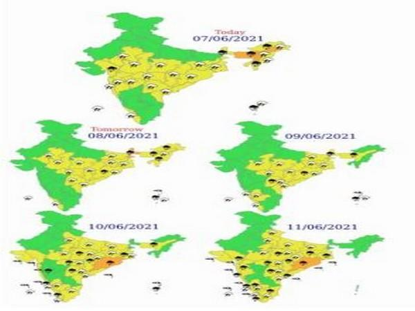 Heat wave conditions in India over next 5 days (Photo/IMD)