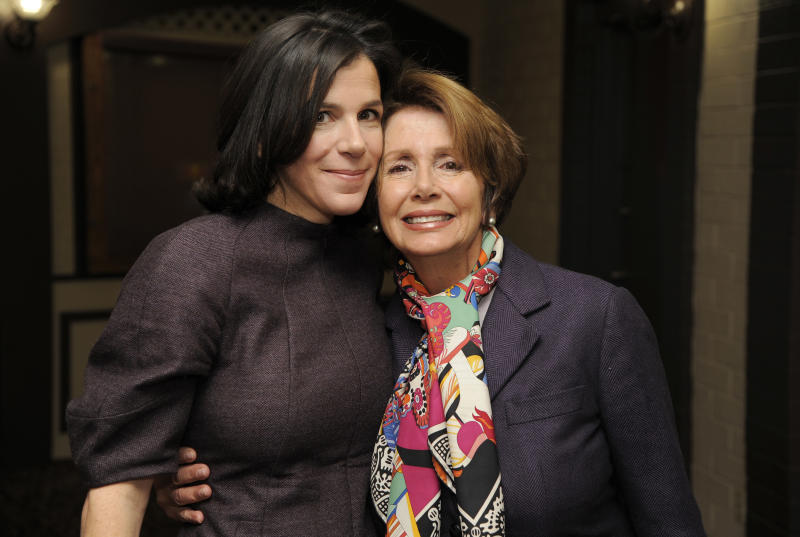 """Alexandra Pelosi, left, director of HBO Documentary Films' """"Fall to Grace,"""" poses with her mother Nancy Pelosi, Minority Leader of the U.S. House of Representatives, before a screening of the film at the 2013 Sundance Film Festival, Friday, Jan. 18, 2013, in Park City, Utah. (Photo by Chris Pizzello/Invision/AP)"""