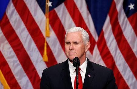 <p>U.S. Vice President Mike Pence introduces U.S. President Donald Trump before he delivers remarks regarding the Administration's National Security Strategy at the Ronald Reagan Building and International Trade Center in Washington D.C, U.S., December 18, 2017. REUTERS/Joshua Roberts </p>