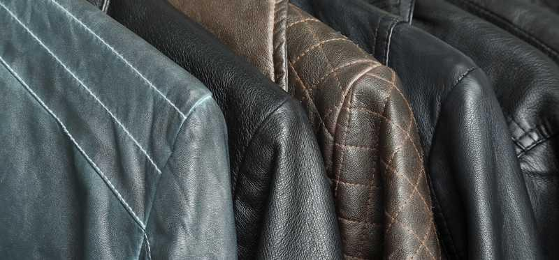 A rack of leather jackets.
