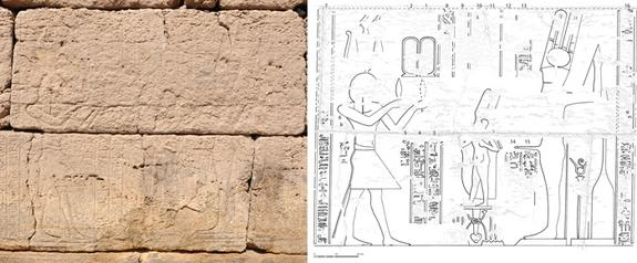This ritual offering is depicted at the axially corresponding scene on the eastern exterior wall and shows the Emperor Claudius, at left, making an offering of lettuce to the god Min, shown at right. In between them is the god Horus shown as a