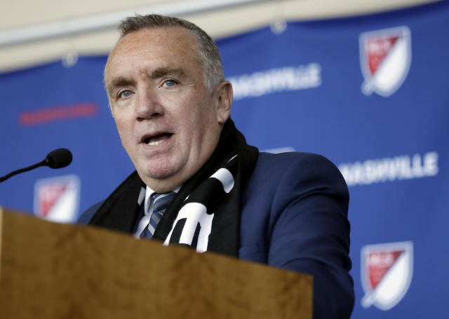 Ian Ayre speaks at a news conference after being introduced as the first chief executive officer of the Nashville MLS franchise Monday, May 21, 2018, in Nashville, Tenn. Ayre is a former CEO of Liverpool Football Club of the English Premier League. (AP Photo/Mark Humphrey)