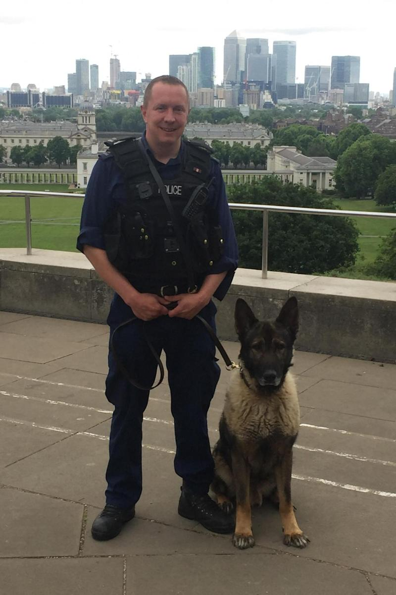 Heroic: PC Dobson with his dog Monty