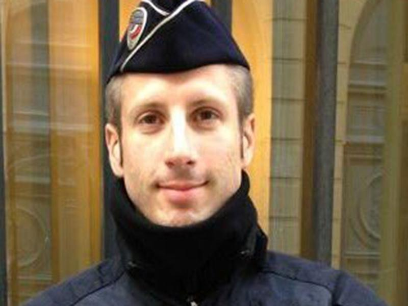 Xavier Jugelé, a French police officer who was shot dead by a gunman on the Champs Elysees on 20 April: Flag/Twitter