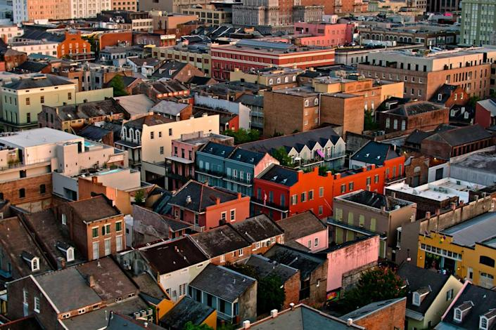 Aerial Shot of French Quarter Rooftops in New Orleans
